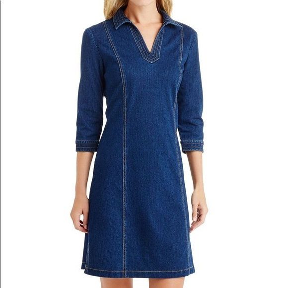 J.McLaughlin Cadence Knit Denim Shirt Dress L NWT